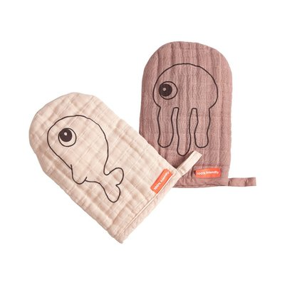 Done By Deer Wash Cloths 2Pk - Sea Friends Powder