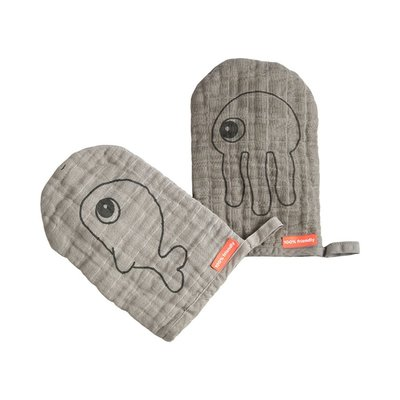 Done by Deer Wash Cloths 2Pk Sea Friends - Grey