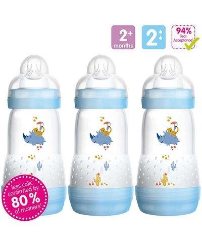 MAM Anti-Colic 260ml Bottles 3 Pack - Blue