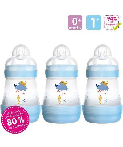 MAM Anti-Colic 160ml Bottle 3 Pack - Blue