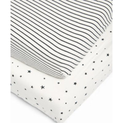 Mamas & Papas Cot Bed Fitted Sheets - Starry Skies - Default