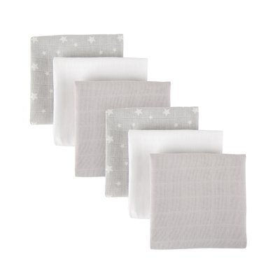 Mother&Baby Organic Cotton Muslins 6 Pack - Grey Star
