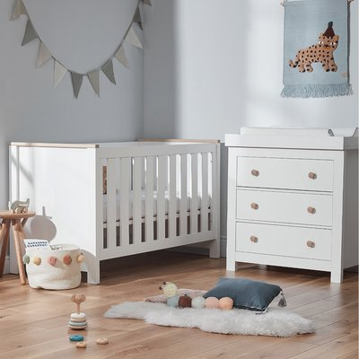 CuddleCo Aylesbury Cot Bed & Dresser Bundle - White/Ash