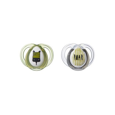 Tommee Tippee 0-6m Closer to Nature Anytime Soothers 2Pk - Grey/Green
