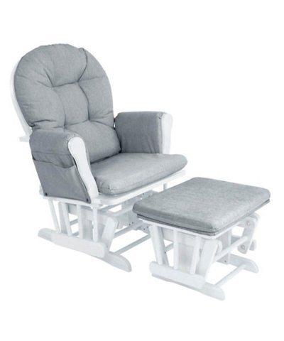 Babylo Milan Glider Chair and Footstool - White/Grey