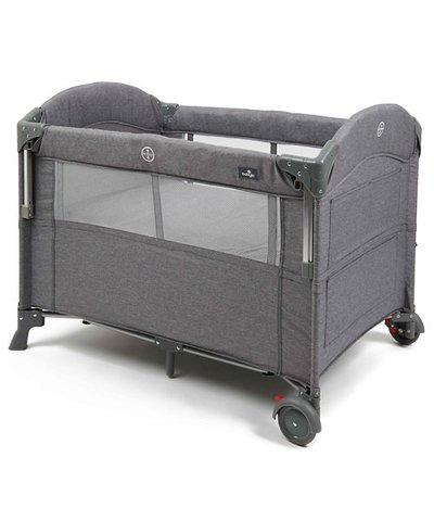 Babylo Travel Cot Deluxe Drop Side - Grey Melange