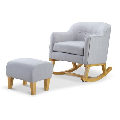 Babylo Haven Rocking Chair with Footstool - Grey with Beech Wood