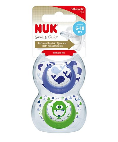 Nuk 6-18M Genius Silicone Soother - Blue/Green