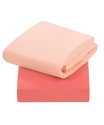 Clevamama Jersey Cotton Cot Bed Fitted Sheets  - Coral