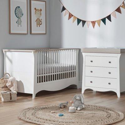 Cuddle Co Clara Cot Bed & Dresser Bundle - Satin White