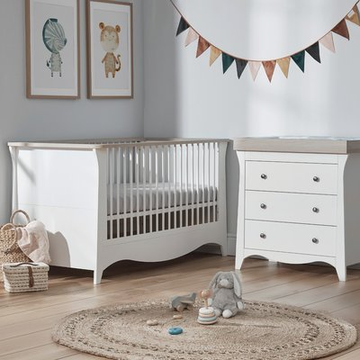 Cuddle Co Clara Cot Bed & Dresser Bundle - Satin White