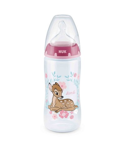 NUK First Choice Bambi Bottle 300ml with Size 2 (6-18 months) Medium Teat