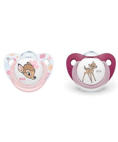 NUK Bambi Trendline Silicone Soother (0-6m) 2 Pack - Pink