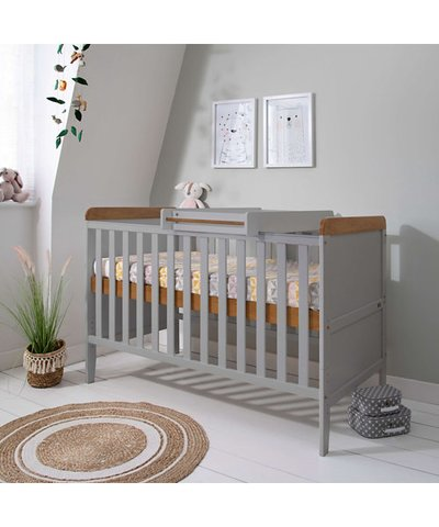 Tutti Bambini Rio Cot Bed with Cot Top Changer & Mattress - Dove Grey/Oak