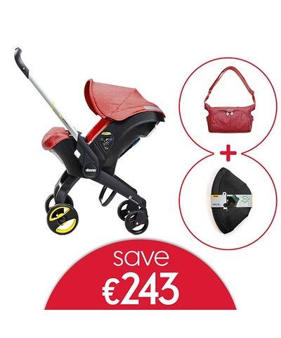Doona Infant Car Seat/Stroller, Changing Bag & Fabric Set - Love Red
