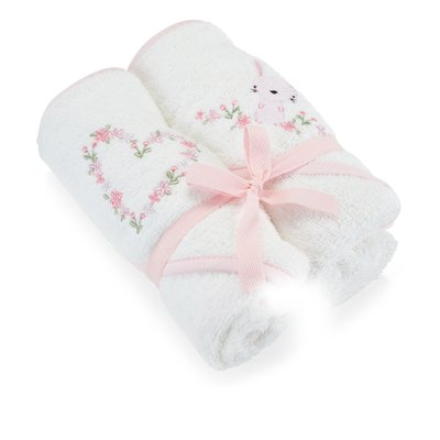 Baby Elegance Hooded Towel 2 Pack – Pink