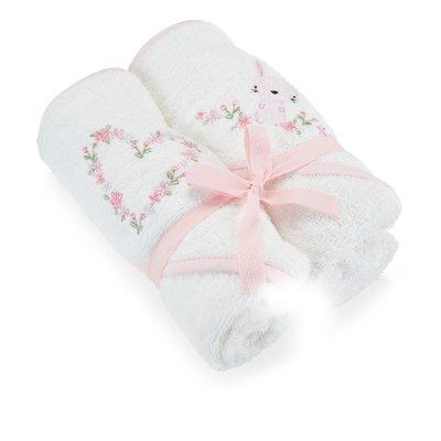 Baby Elegance Hooded Towel 2 Pack – Pink