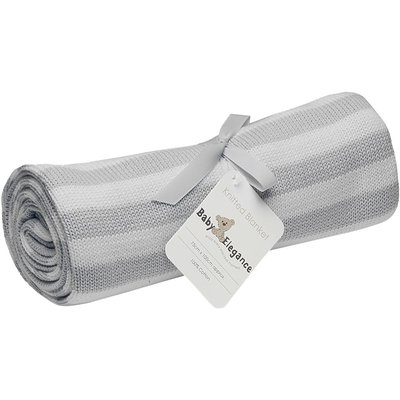 Baby Elegance Pearl Knitted Blanket - Grey & White
