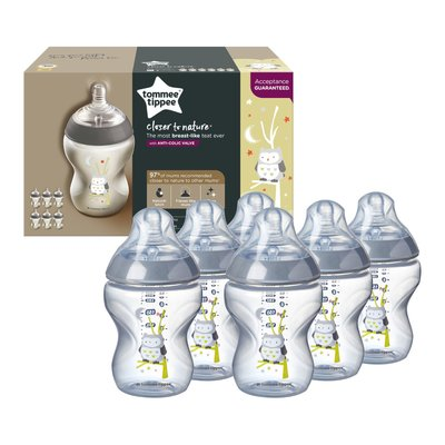 Tommee Tippee Closer to Nature Ollie the Owl Bottles -  6x260ml
