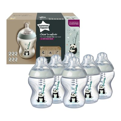 Tommee Tippee Closer to Nature Pip the Panda Bottles - 6x260ml