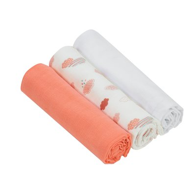 Clevamama Bamboo Muslin Cloths 3 Pack - Coral