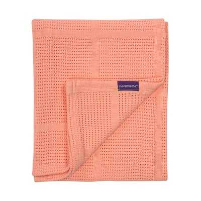 Clevamama Cot/Cot Bed Cellular Blanket 120 x 140 cm - Coral - Default