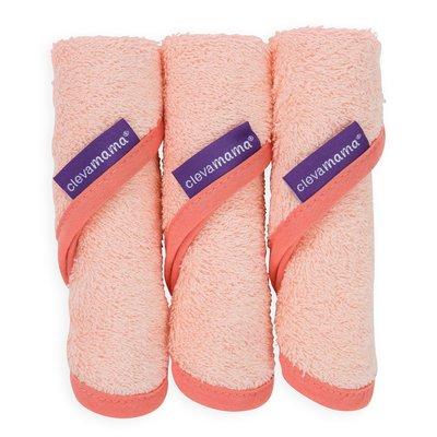 Clevamama Bamboo Baby Washcloth 3 Pack - Coral