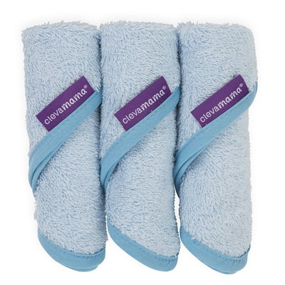 Clevamama Bamboo Baby Washcloth 3 Pack - Blue