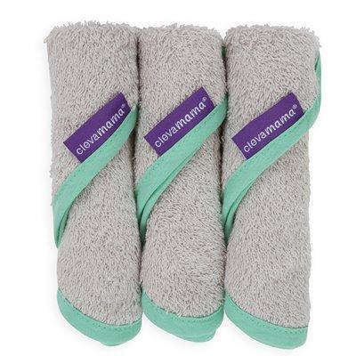 Clevamama Bamboo Baby Washcloth 3 Pack - Soft Grey