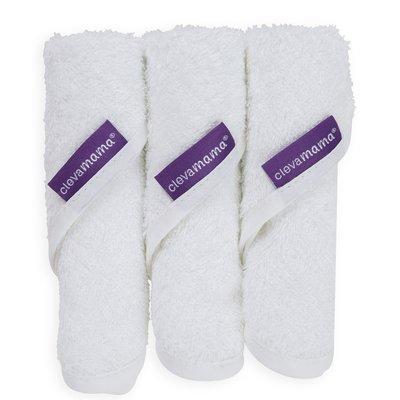 Clevamama Bamboo Baby Washcloth 3 Pack - White