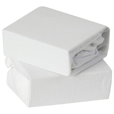 Baby Elegance Travel Cot Fitted Sheets 2pk - White