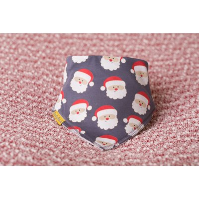 BabyBoo Organic Cotton Bandana Bib - Grey Happy Santas