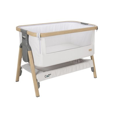 Tutti Bambini Cozee Bedside Crib - Oak/Sterling Silver