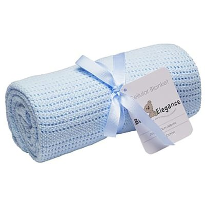 Baby Elegance Cot Cellular Blanket - Blue - Default