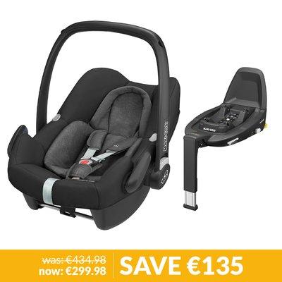 Maxi-Cosi Rock Car Seat & FamilyFix3 Base Bundle - Nomad Black