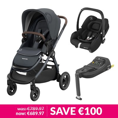 Maxi-Cosi Adorra2, Oria Carrycot, Tinca Car Seat & Base Bundle - Essential Graphite