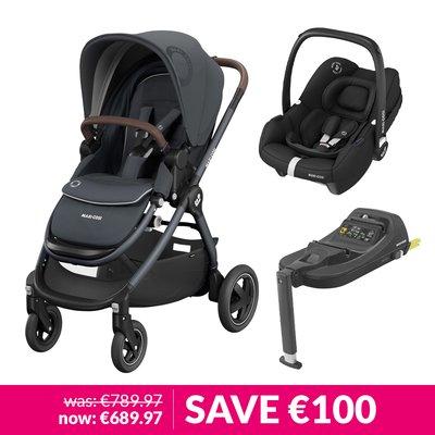 Maxi-Cosi Adorra2, Oria Carrycot, Tinca Car Seat & Base Bundle - Essential Graphite
