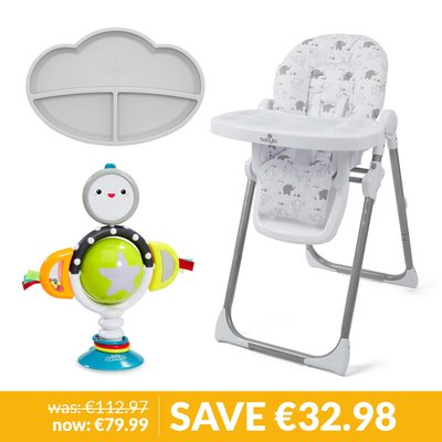 Babylo Hi Lo Highchair, My Feeding Pal Plate & Highchair Toy Bundle - Origami Elephant