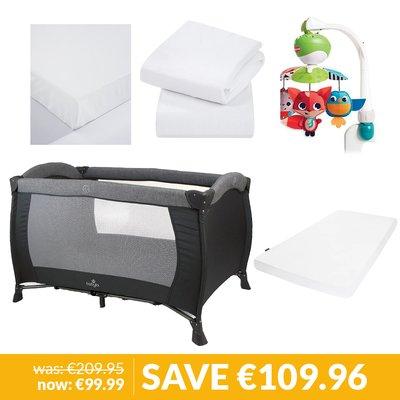 Babylo 2in1 Dream Easy Travel Cot, Mattress, Bedding & Toy Bundle