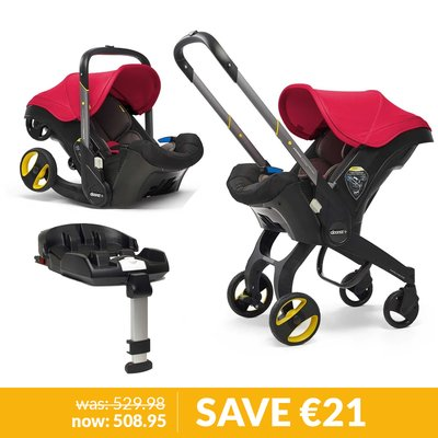 Doona Infant Car Seat / Stroller & Base Bundle - Flame Red