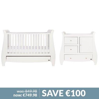 Tutti Bambini Lucas Cot Bed, Changer & Mattress Bundle - White