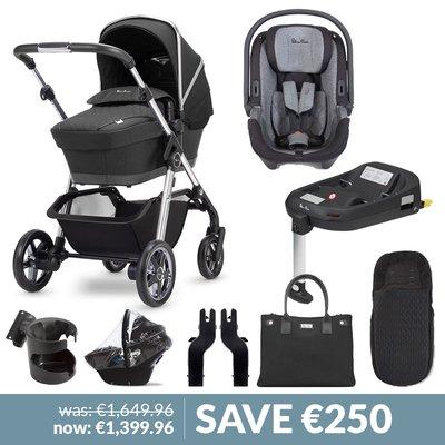 Silver Cross Pioneer Pushchair, Simplicity Car Seat & Base Bundle - Pepper