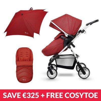 Silver Cross Pursuit Pushchair, Changing Bag, Parasol & Cosytoe Bundle - Brick