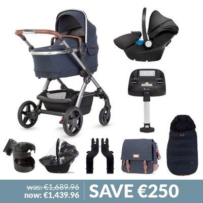 Silver Cross Wave Pushchair, Accessory Box, Simplicity Car Seat & Base Bundle - Indigo