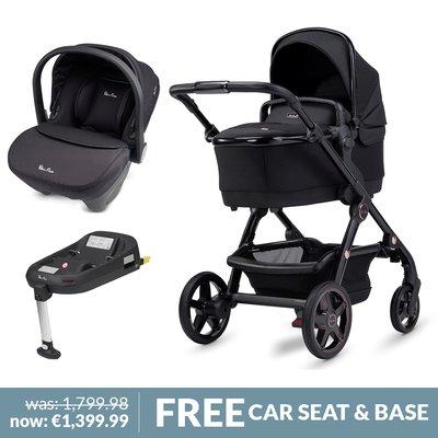 Silver Cross Wave Pushchair, Simplicity Car Seat & Base Bundle - Eclipse