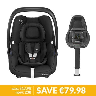 Maxi-Cosi Tinca Car Seat & FamilyFix 2 Base Bundle - Essential Black