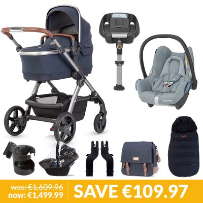 Silver Cross Wave Pushchair, Accessory Box, Maxi-Cosi Cabriofix & Base Bundle - Indigo