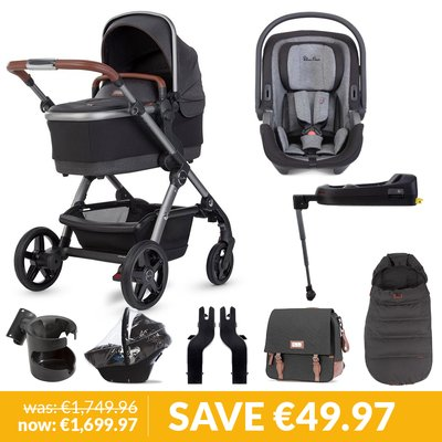 Silver Cross Wave Pushchair, Accessory Box, Dream iSize Car Seat & Base Bundle - Charcoal