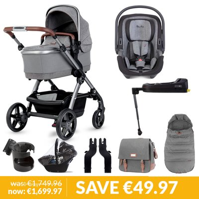 Silver Cross Wave Pushchair, Accessory Box, Dream iSize Car Seat & Base Bundle - Zinc