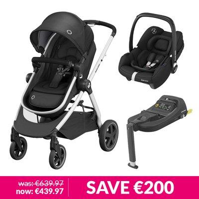 Maxi-Cosi Zelia 2 Pushchair, Tinca Car Seat & Base Bundle - Essential Black